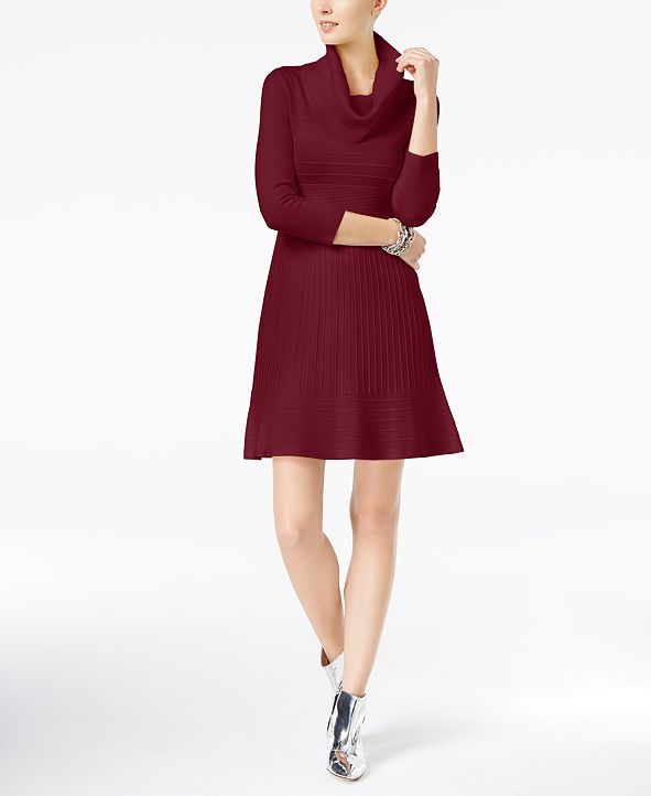 INC International Concepts I.N.C. Cowl-Neck Fit & Flare Sweater Dress, Created for Macy's