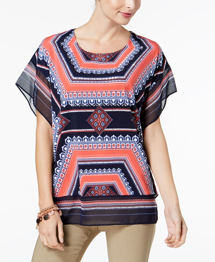JM Collection - Chiffon-Trim Dolman-Sleeve Top, Created for Macy's