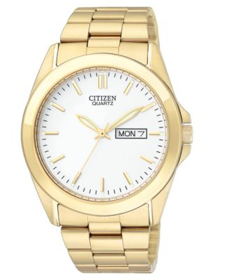 timex watch men s gold tone stainless steel expansion bracelet citizen men s gold tone stainless steel bracelet watch 41mm bf0582 51a