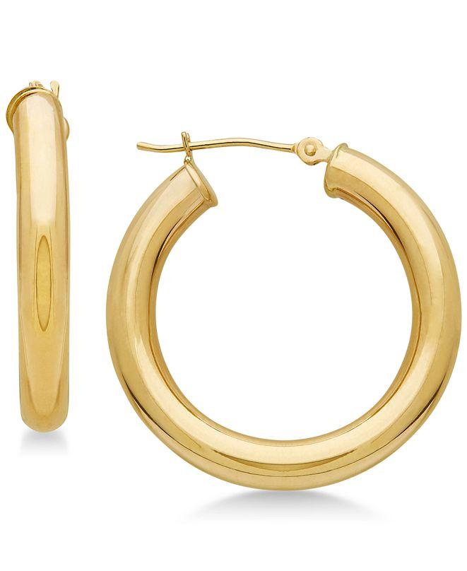 Macy's Polished Tube Hoop Earrings in 14k Gold