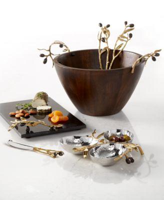 Olive Branch Gold 3 Bowl Server