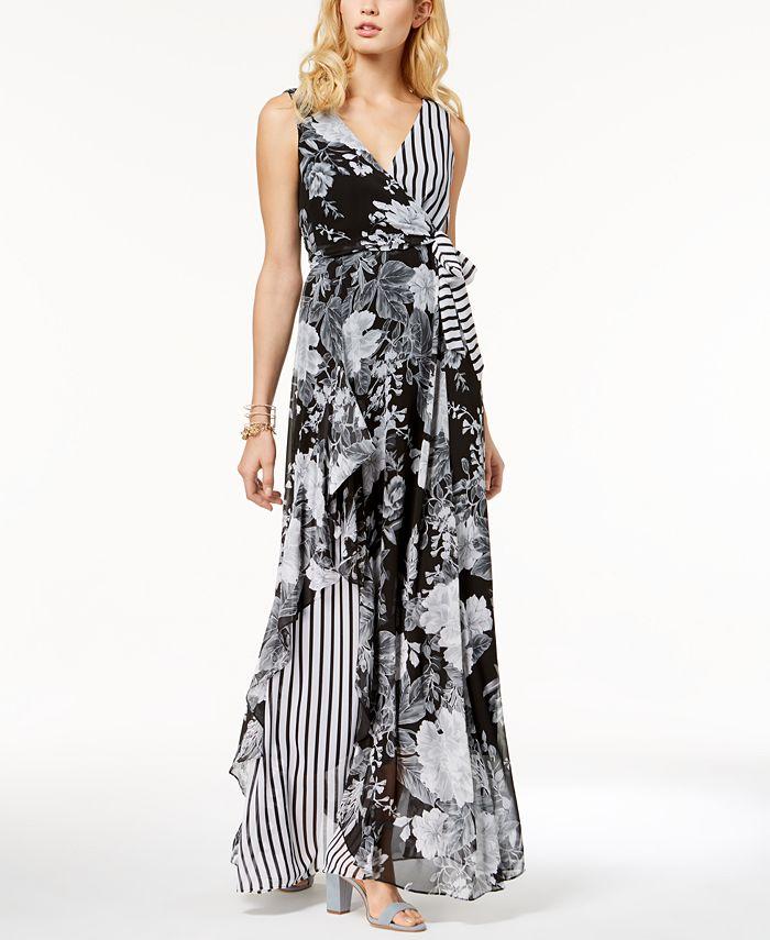 INC International Concepts - Printed Ruffle-Trim Surplice Maxi Dress