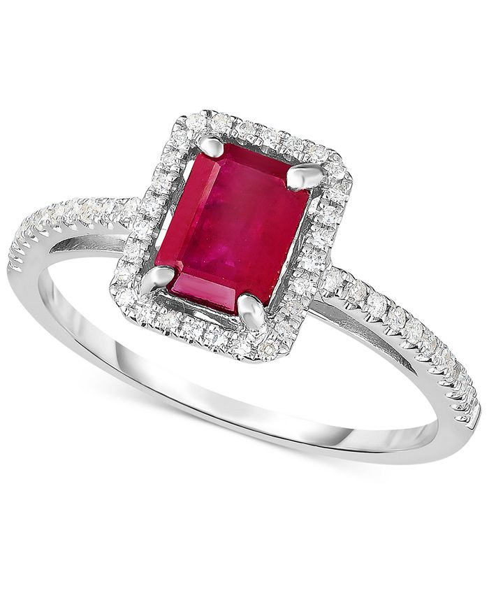 Macy's - Ruby (1-1/4 ct. t.w.) & Diamond (1/5 ct. t.w.) Ring in 14k White Gold