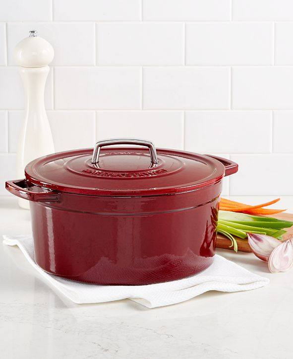 Martha Stewart Collection CLOSEOUT! Collector's Enameled Cast Iron 8 Qt. Round Dutch Oven, Created for Macy's