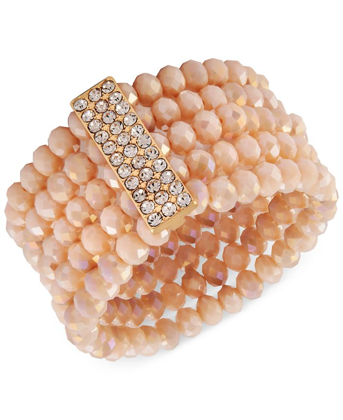 Say Yes to the Prom - Gold-Tone Crystal & Pink Imitation Pearl Multi-Row Stretch Bracelet
