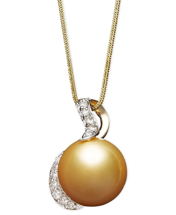 Macy's - 14k Gold Necklace, Cultured Golden South Sea Pearl (13mm) and Diamond (1/3 ct. t.w.) Pendant
