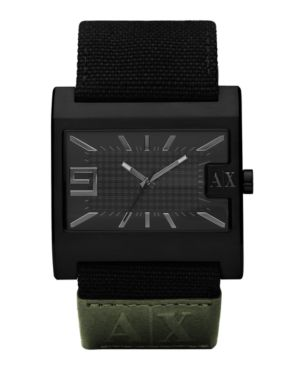 A|X Armani Exchange Watch, Men's Black Canvas and Green Leather Strap AX1160