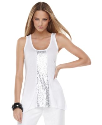 INC International Concepts Top, Sleeveless Scoopneck Sequin Stripe Tank