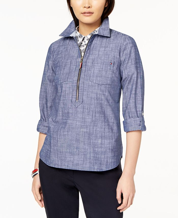 Tommy Hilfiger - Cotton Chambray Half-Zip Top