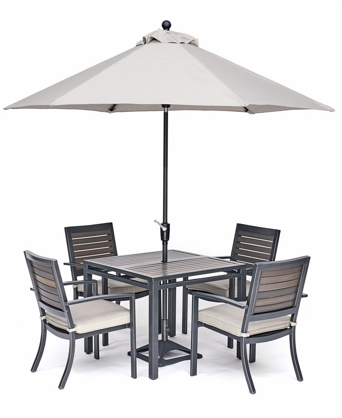 """Furniture - Marlough II Outdoor Aluminum 5-Pc. Dining Set (36"""" Square Dining Table and 4 Dining Chairs)"""