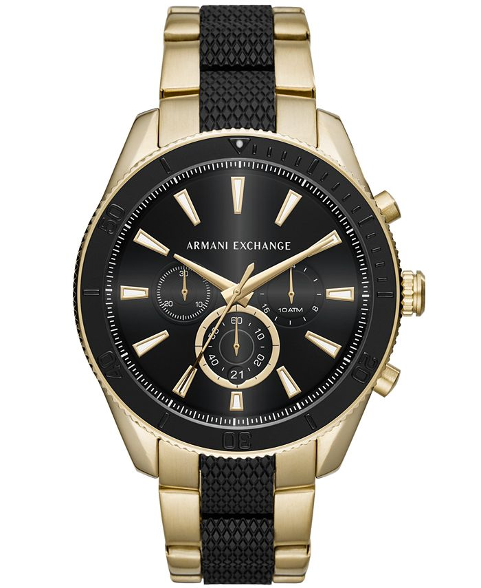 A|X Armani Exchange - Men's Chronograph Two-Tone Stainless Steel Bracelet Watch 46mm