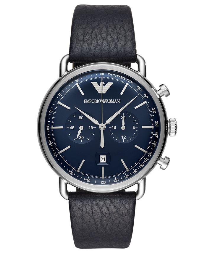 Emporio Armani - Men's Chronograph Blue Leather Strap Watch 43mm