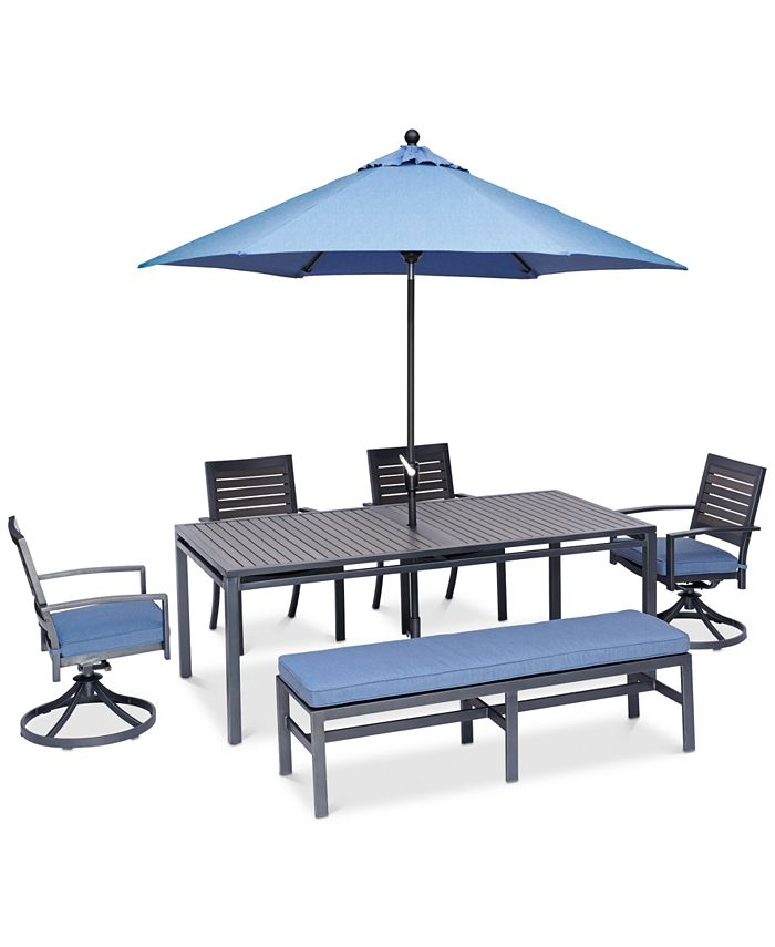 "Furniture - Harlough II Outdoor 6-Pc. Dining Set (84"" x 42"" Dining Table, 2 Dining Chairs, 2 Swivel Rockers, and 1 Armless Bench) with Sunbrella® Cushions"