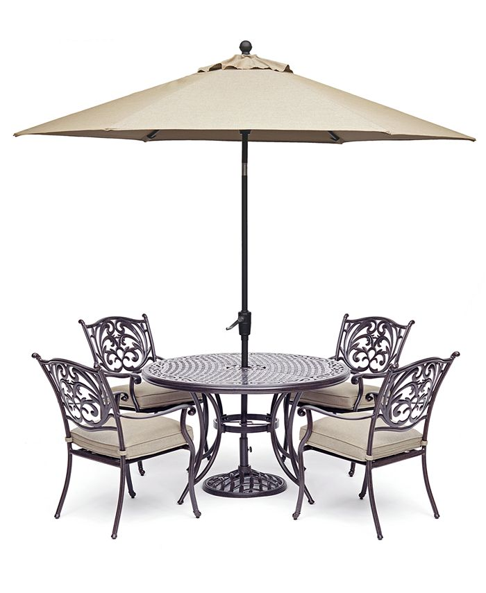 """Furniture - Chateau Outdoor Aluminum 5-Pc. Set (48"""" Round Dining Table & 4 Dining Chairs) with Sunbrella® Cushions"""