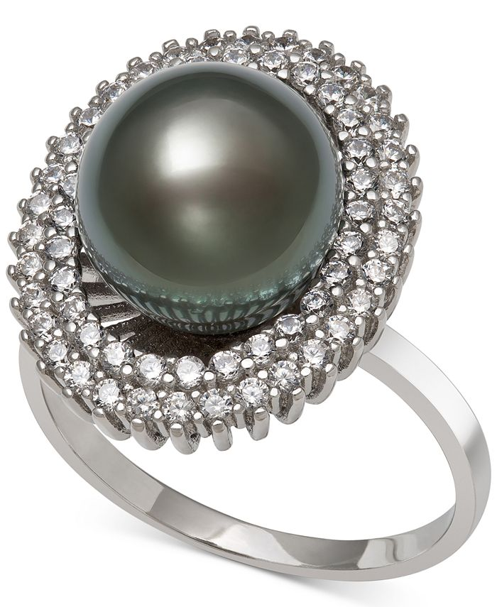 Macy's - Black Cultured Tahitian Pearl (10mm) & Cubic Zirconia Ring in Sterling Silver
