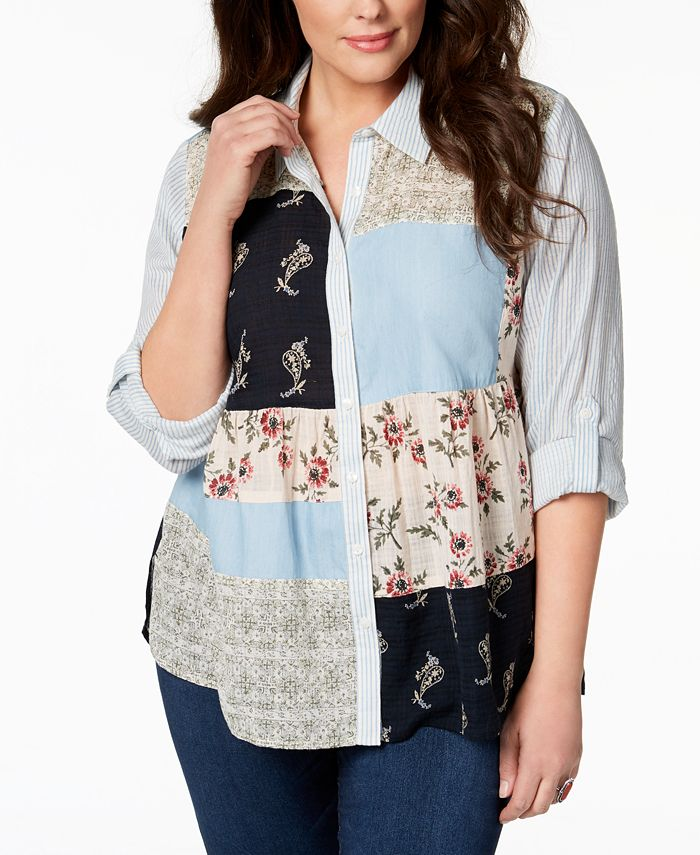 Style & Co - Plus Size Patchwork-Print Shirt