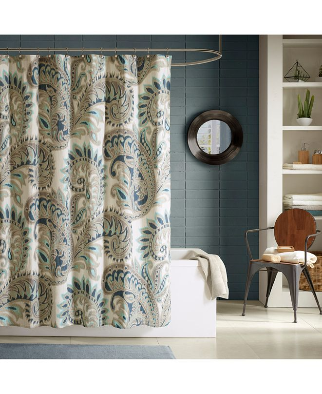 "INK+IVY Mira Cotton 72"" x 72"" Textured Paisley-Print Shower Curtain"