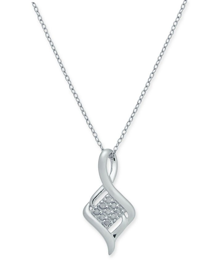 "Macy's - Diamond Cluster Twist 18"" Pendant Necklace (1/10 ct. t.w.) in Sterling Silver"