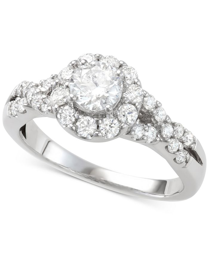 Macy's - Diamond Halo Engagement Ring (1-1/7 ct. t.w.) in 14k White Gold
