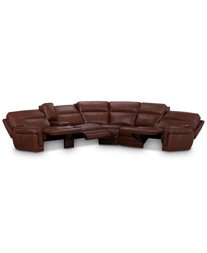 """Furniture - Myars 6-Pc. """"L"""" Shaped Leather Sectional Sofa With 3 Power Recliners, Power Headrests, And Console With USB Power Outlet, Created for Macy's"""