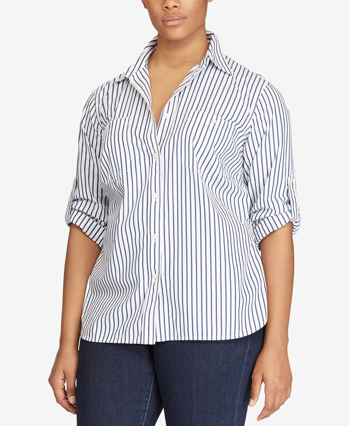 Lauren Ralph Lauren - Plus Size Striped Rolltab Shirt