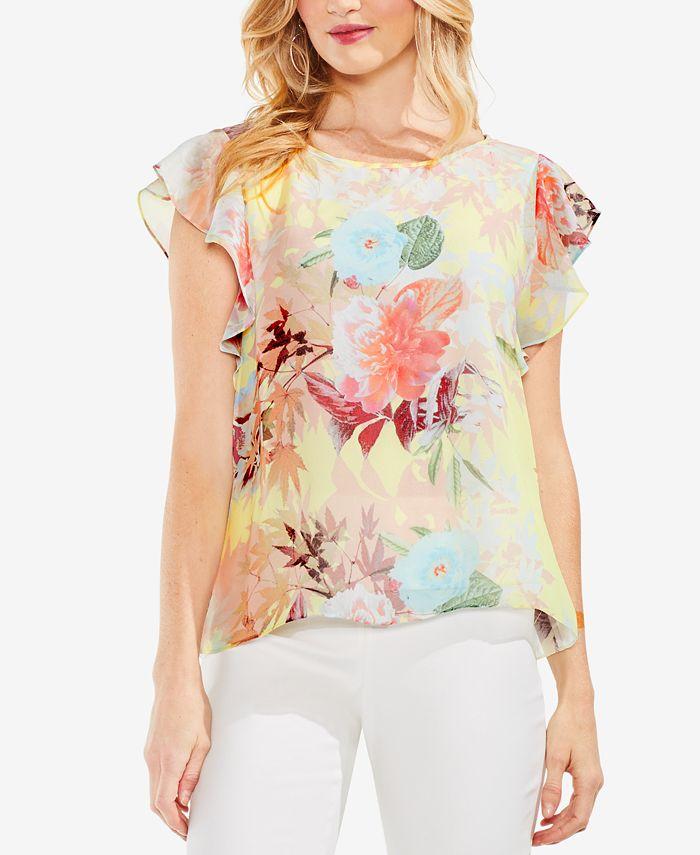 Vince Camuto - Floral-Print Flutter-Sleeve Top