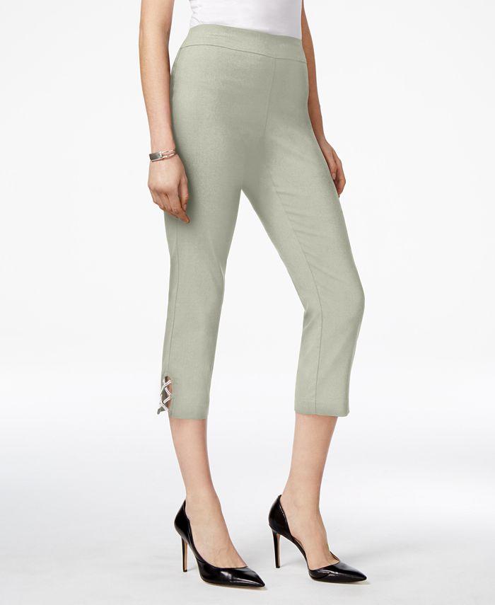 JM Collection - Lattice-Hem Capri Pants