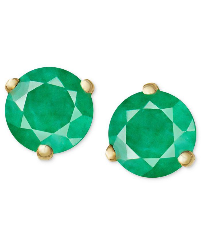 Macy's - 14k Gold Earrings, Emerald Stud (3/4 ct. t.w.)