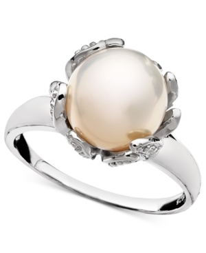 Belle de Mer Pearl Ring, Sterling Silver Cultured Freshwater Pearl (10-11 mm) and Diamond Accent Flower