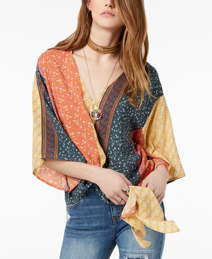Polly & Esther - Juniors' Printed Tie-Front Dolman-Sleeved Top