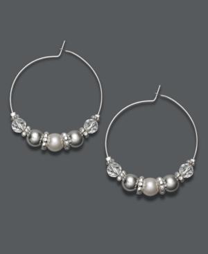 Charter Club Earrings, Silver Tone White Bead Hoop