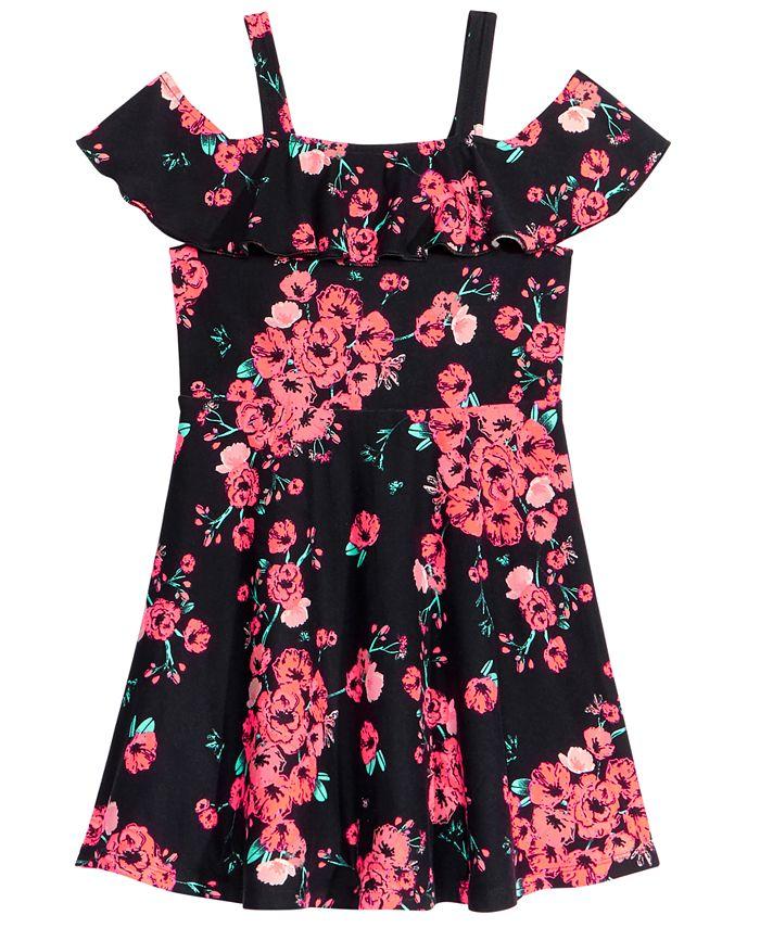 Epic Threads - Floral-Print Cold Shoulder Dress, Little Girls
