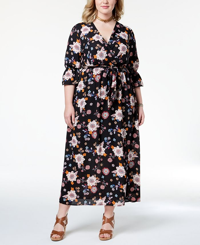 Monteau - Trendy Plus Size Printed Belted Maxi Dress