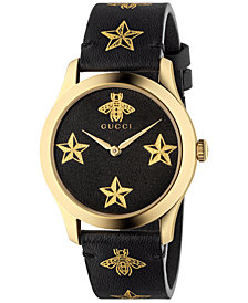 Gucci Women's Swiss G-Timeless Black Leather Strap Watch 38mm