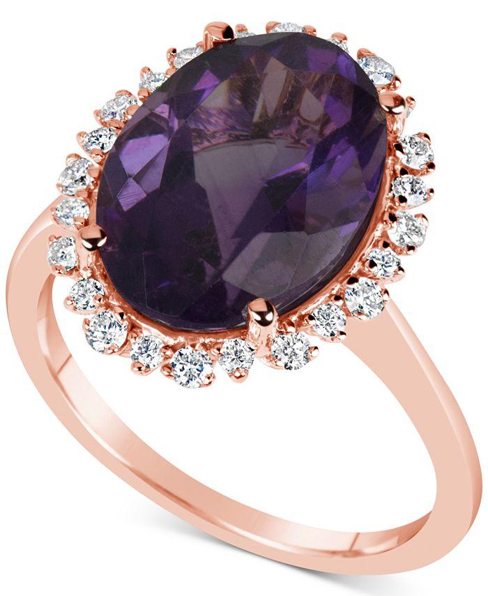 Macy's - Amethyst (5-1/2 ct. t.w.) & Diamond (1/4 ct. t.w.) Ring in 14k Rose Gold