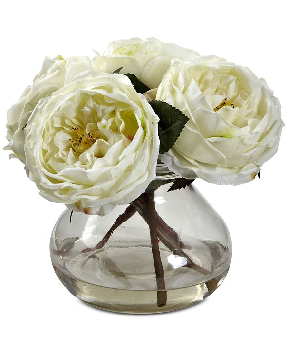 Nearly Natural Fancy White Rose Arrangement with Vase