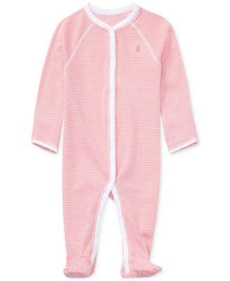 Ralph Lauren Baby Girls Striped Cotton Coverall