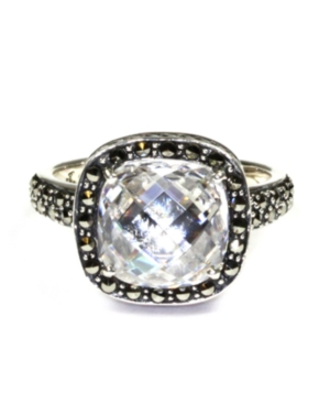 Judith Jack Ring, Sterling Silver Cubic Zirconia (6-1/2 ct.t .w.) and Marcasite Square