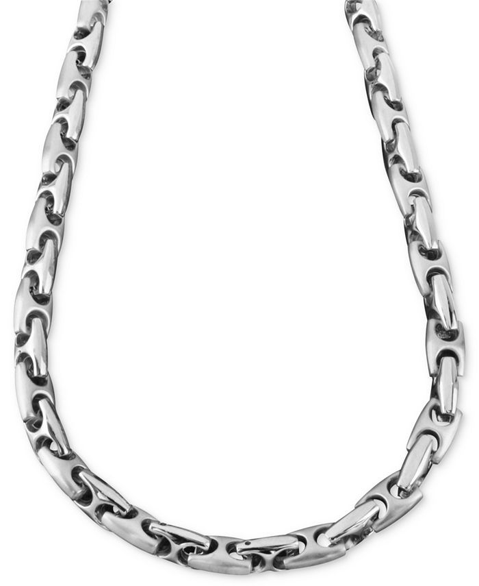 """Macy's - Men's Stainless Steel Necklace, 24"""" Marina Link"""