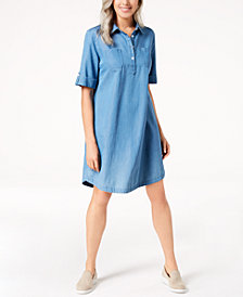 Karen Scott Chambray Shirtdress