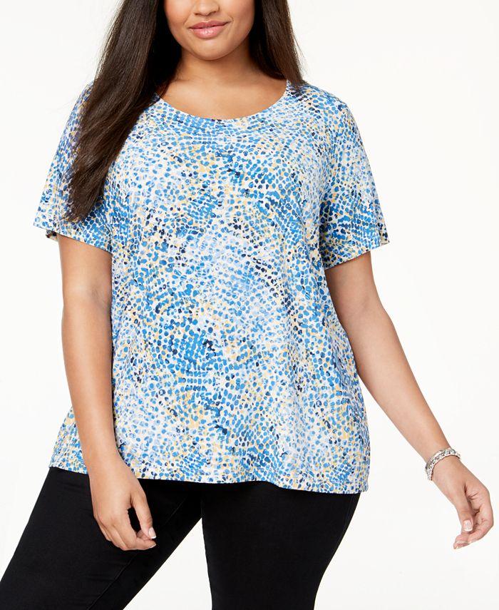 JM Collection - Plus Size Printed Gel-Dot T-Shirt