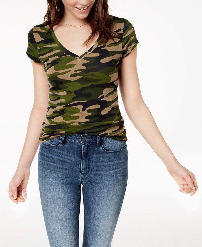 Planet Gold - Juniors' Printed V-Neck T-Shirt