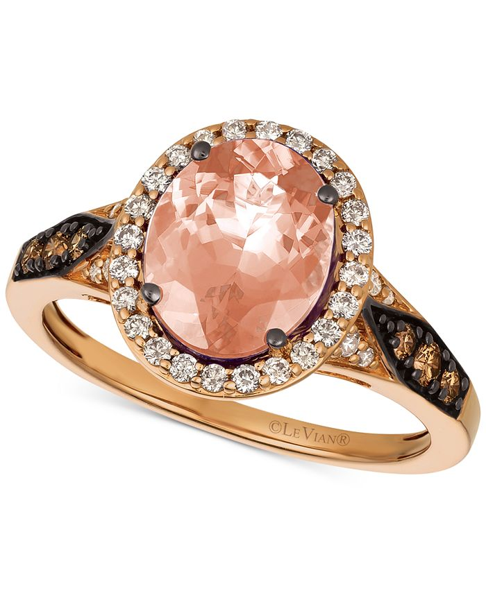 Le Vian - Peach Morganite™ (1-3/4 ct. t.w.) & Diamond (3/8 ct. t.w.) Ring in 14k Rose Gold