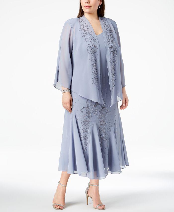 R & M Richards - Plus Size Dress and Jacket, Bead Embellished