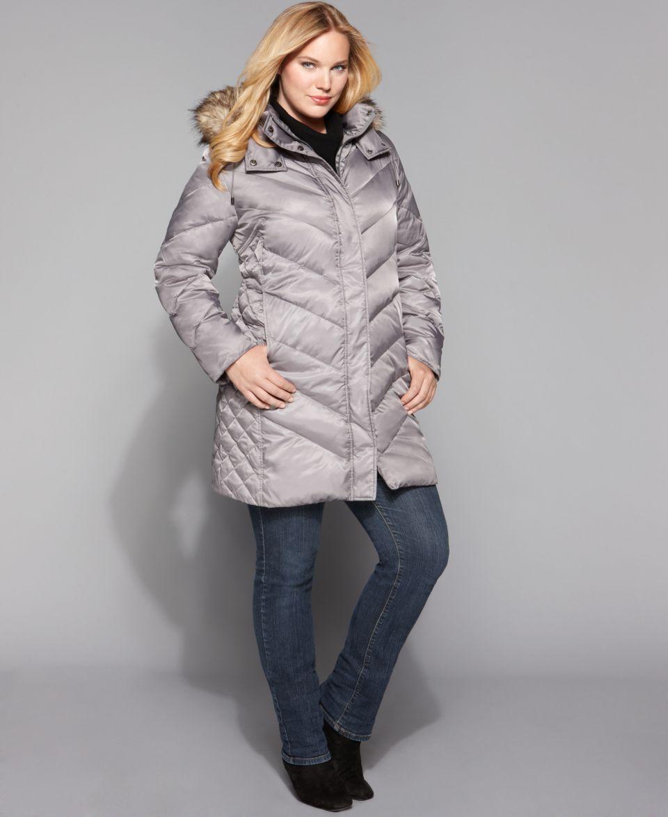 Kenneth Cole Reaction Plus Size Coat, Faux Fur Hood Chevron Down   Coats   Women