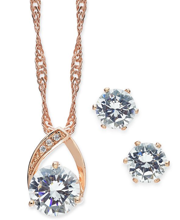 Charter Club Crystal Pendant Necklace and Earrings Set, Created for Macy's