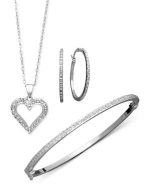 Sterling Silver Jewelry Set, Diamond Accent Heart Pendant, Hoop Earrings, and Bracelet