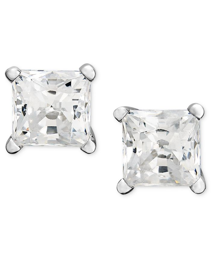 Macy's - Near Colorless Princess-Cut Diamond Stud Earrings in 14k White Gold (1 ct. t.w.)