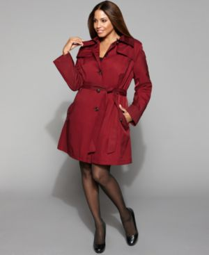DKNY Plus Size Jacket, Belted Trench Coat