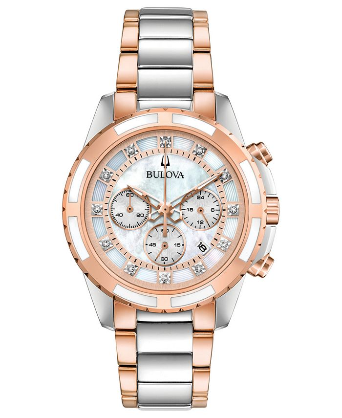 Bulova - Women's Chronograph Diamond-Accent Two-Tone Stainless Steel Bracelet Watch 36mm